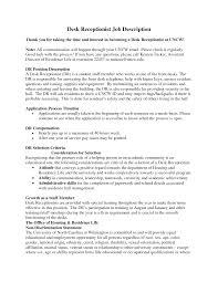 Receptionist Job Resume Medical Front Desk Receptionist Job Description Fishingstudio 72
