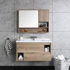 Floating Bathroom Vanity Wall Mounted Single Bathroom Vanity 39 Modern Bathroom Vanity 2 Drawer Natural Wood Bathroom Vanities Bath Faucets