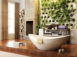 bathroom with soaking tub and vertical garden