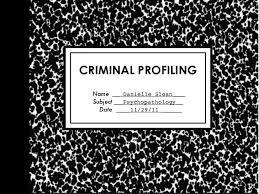 criminal profiling criminal profiling danielle sloan subject psychopathology date