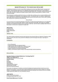 resume technician maintenance maintenance technician resume sample best format