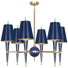 jonathan adler versailles 6 light candle style chandelier finish navy lacquered paint matte gold lining shade color modern brass navy opaque parchment