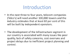 construction of telecommunication towers