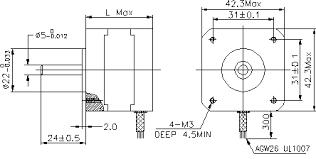 17h2e 2 phase stepper motors 42mm 3 6degree motionking stepper model