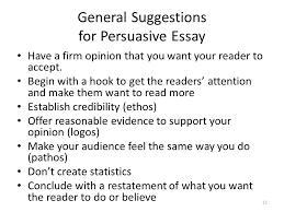 essay organizer the introduction the hook how will you grab your  general suggestions for persuasive essay have a firm opinion that you want your reader to accept