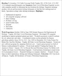 Resume Templates: Entry Level Petroleum Engineer