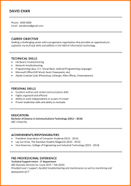 Basic Resume Sample 100 simple resume sample for fresh graduate support our revolution 98