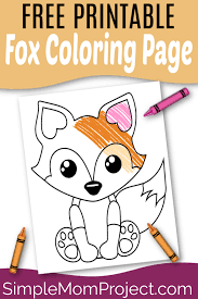 When children color, they strengthen the small muscles in their hands that help them learn to write. Free Printable Baby Fox Coloring Page Simple Mom Project