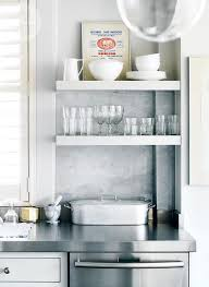 Stainless Floating Shelves Simple Kitchen With Stacked Floating Shelves Transitional Kitchen