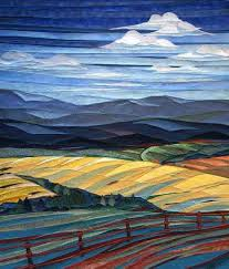 38 best Nature-al Quilts images on Pinterest | Abstract, Appliques ... & Clouds-Over-Fields-and-Fence by twin artists, Lisa and Lori Lubbesmeyer.  They call their works, fiber paintings. Adamdwight.com
