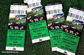 Invitation Ticket Template Football ticket invitations printable Everyday Dishes DIY 60