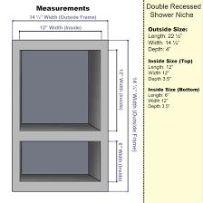 preformed double recessed shower niche