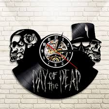 1piece The Day Of The Dead Skulls Clock Vinyl Record Wall Clock