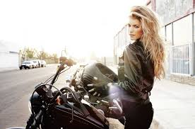 motorcycle girl photo supermodel marisa miller with black leather jacket on a black harley