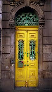 gorgeous vine yellow and turquoise door