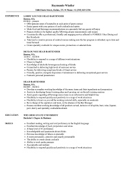 Head Bartender Resume Samples Velvet Jobs