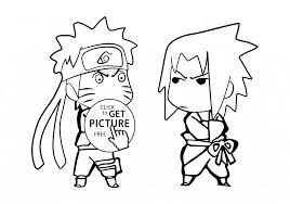 Little Naruto And Sasuke Coloring Page For Kids Manga Anime