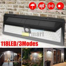 118 led solar powered pir motion sensor wall light outdoor garden lamp 3 modes