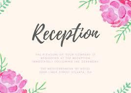 wedding reception card pink watercolour flowers wedding reception card templates by canva