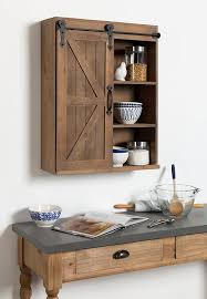 com kate and laurel cates wood wall storage cabinet with sliding barn door rustic brown kitchen dining