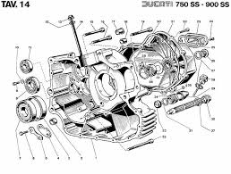 vintage ducati engine parts ducati 750ss 900ss parts diagram tav 14 crankcase