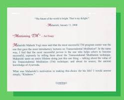 transcendental meditation® for deepest rest   twice a day  quot    see    mentioning transcendental meditation an essay  jpg   quot