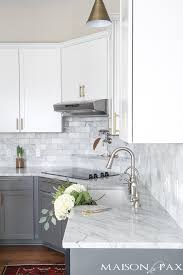marble countertops and subway tile maison de pax