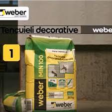 Tencuiala decorativa Weber Min 100 R3, alb, aspect scoarta de copac, 20 kg
