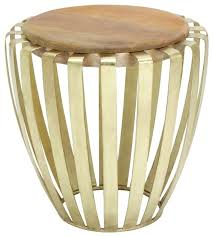tall drum accent table round wood brass cage decor 28603 contemporary side tables and end tables by gwg