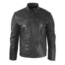 men s biker vintage motorcycle black cafe racer leather jacket with skull new