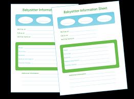 babysitter information sheet printable fellowes idea center ideas for home organization babysitter