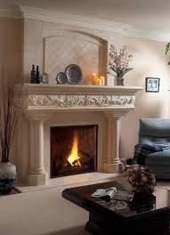 interior carved white stone mantel shelf of white fireplace on white floor and wall