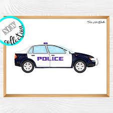 police car wall art kid bedroom art