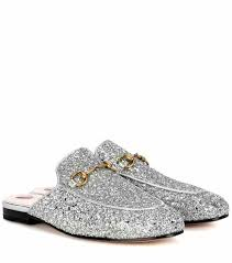 gucci slippers. princetown glitter-coated leather slippers | gucci 7