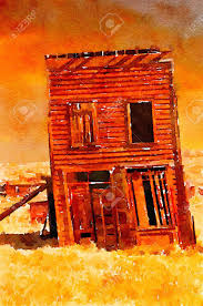nice simple watercolor painting of a old west ghost town building stock photo 55277155