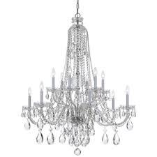 crystorama traditional crystal 12 light clear crystal chrome chandelier ii