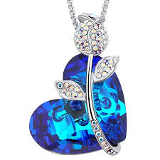 mega creative jewelry women rose blue heart shaped pendant necklace crystals from swarovski b01n7rzpzn