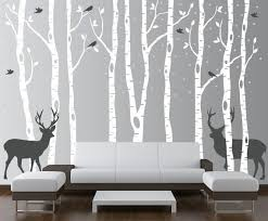 Birch Tree Wall Decal Forest with Snow Birds and Deer Vinyl | Etsy