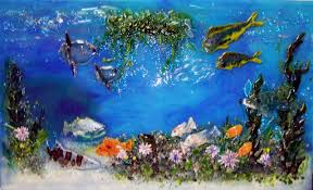 we created this fused glass mural for our client in california the motif is a pacific coast underwater scene featuring a variety of native fish and sea