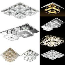 crystal led light modern square ceiling chandelier lamp pendant living room uk
