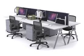 computer office table. Elements - 4 Person Workstation Double Sided With Screens Silver Leg [1200L X 800W] Computer Office Table
