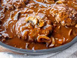 salisbury steak in mushroom gravy the