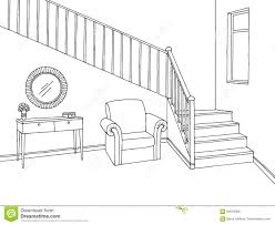 stairs clipart black and white. Contemporary Black Download Hallway Graphic Stairs Black White Interior Sketch Illustration  Stock Vector  Of Frame Intended Clipart And K