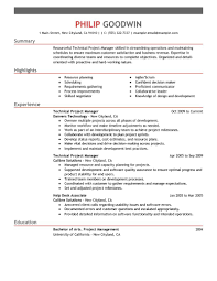 Sample Resume For Project Management Position Free Resume