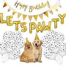 Happy Birthday Signs To Print Dog Birthday Party Supplies Lets Pawty Balloons Banner Paw Print Balloons Pet Birthday Hat Happy Birthday Banner Foil Balloons