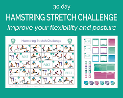 30 Day Hamstring Stretch Challenge Printable Workout Schedule Stickers