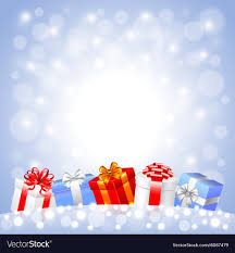 Gifts Background Christmas Gifts In The Snow On White Background