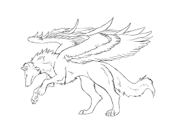baby wolf drawing with wings. Winged Wolf Lineart Grey By Bolthound On DeviantArt Jpg Free Download Inside Baby Drawing With Wings