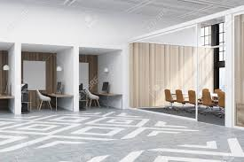 office with cubicles. Office Cubicles In An With White And Wooden Walls. There Are Blank Vertical Pictures