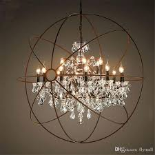 orb light chandelier country hardware vintage orb crystal chandelier lighting rustic iron candle chandeliers light globe
